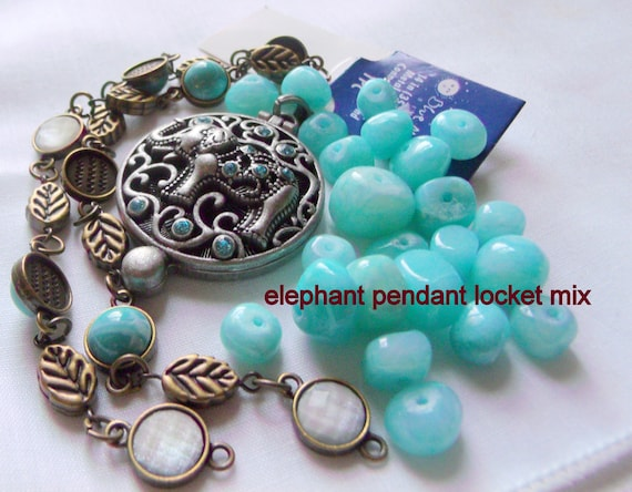 Mixed bead grab bag, crystal - acrylic bead soup - elephant pendant - gem stone beads, metal bead- wire beads - green mix - turquoise beads
