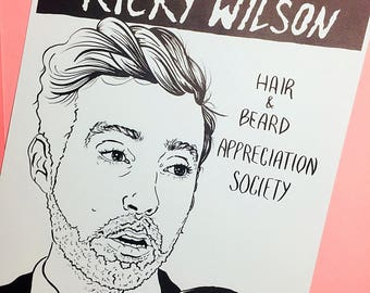 Ricky Wilson Appreciation Print/ A4 Print/ Digital Print/ Home Decor/ Monochrome/ Wall Art