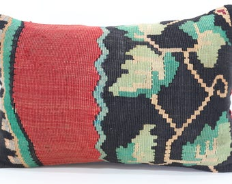 16x24 Lumbar Kilim Pillow Vintage Handwoven Kilim Pillow 16x24 Turkish Kilim Pillow Floor Pillow Ethnic Pillow Cushion Cover SP4060-571