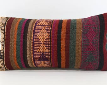 10x20 Handwoven Kilim Pillow Sofa Pillow Floor Pillow 10x20 Naturel Kilim Pillow Anatolian Kilim Pillow Cushion Cover SP2550-1243