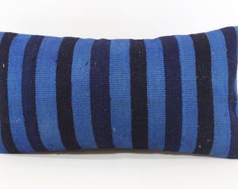 Blue Black Kilim Pillow Sofa Pillow Throw Pillow 12x24 Stirped Kilim Pillow Handwoven Kilim Pillow Ethnic Pillow Cushion Cover P3060-1120