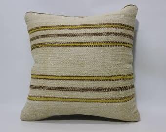 Handmade Turkish Kilim Pillow 20x20 Kilim Pillow Sofa Pillow Anatolian Turkish Kilim Pillow Decorative Pillow Striped PillowSP5050-2194