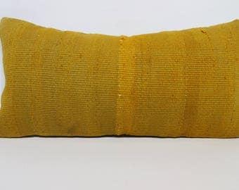 Handwoven Kilim Pillow Yellow Kilim Pillow Turkish Kilim Pillow 12x24 Lumbar Kilim Pillow Sofa Pillow Ethnic Kilim Pillow  SP3060-1227