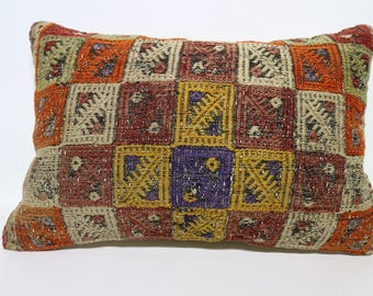Embroidered Kilim Pillow 16x24 Multicolor Kilim Pillow Lumbar Pillow Turkish Kilim Pillow Sofa Pillow  Throw Pillow Cushion Cover SP4060-847