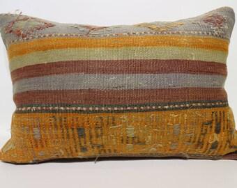16x24 Handwoven Striped Kilim Pillow Cushion Cover  Pillow Bohemian Kilim Pillow Sofa Pillow Ethnic Pillow Floor SP4060-901