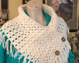 Three Button Fringed Cowl