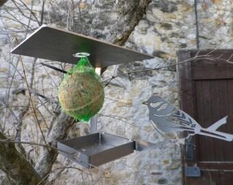 Feeder has decorative metal birds