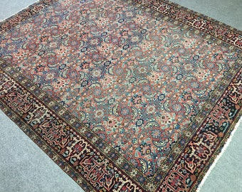Persian Rug Heriz antique fine 5.6 x 4.8 ft ft / 172 x 146 cm vintage Bohemian Rug, Boho Style, carpet Karaja Gerawan Free Shipping US CA EU
