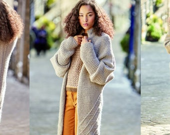 Coat/knit coat, wool coat, pure wool (merino wool), coarse knit