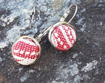 Tekhni - Galene Scarlet - Earrings - Wrap Scrap - Stainless Steel - Geometric - Red - White