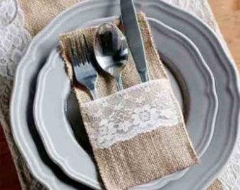 set of 5..Burlap Lace Wedding Tableware Pouch Cutlery Holder, Decoration Favor, rustic wedding decor, vintage wedding decoration