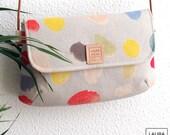 Shoulder bag with leather handle, watercolor printed bag, woman bag, fabric bag, small bag. Nani Iro