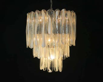 Large three-Tier Mazzega Murano Glass Chandelier