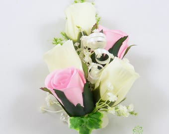 Artificial Wedding Flowers Baby Pink & Ivory Rose Wrist Corsage