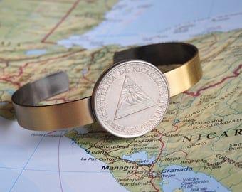 Nicaragua vintage coin cuff bracelet - made of a original coins - men bracelet