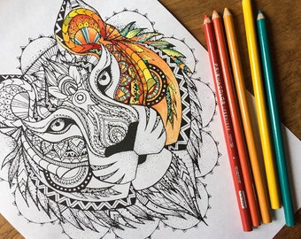 Adult colouring page, tiger pattern coloring page instant digital download, advanced adult colouring page animal art digital colouring page