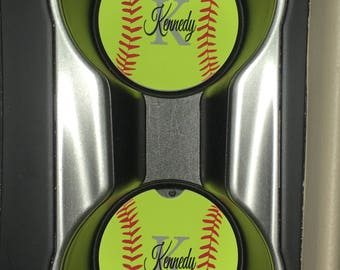 Baseball or softball car cup holder coaster (2 coasters) with your monogram name/initials or with out