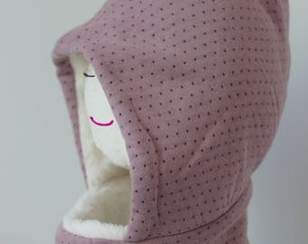 Snood and Mauve Bonnet Set for Girl
