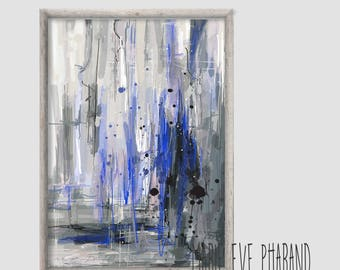 """Abstract illustration """"Bleu électrique"""" / Grey and blue / Illustration, mural decoration, modern art / Painting style"""