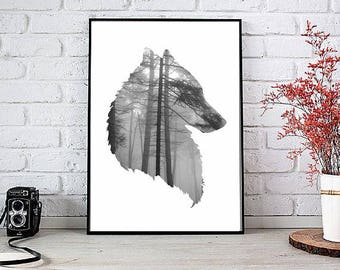 Home Wall Art Print, Forest Art Print, Wolf Poster, Printable Poster, Instant download, digital,