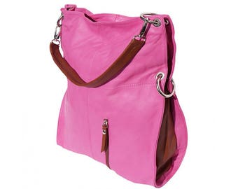 Italian handmade Soft leather Hobo shoulder bag in Fuschia & Brown 3019