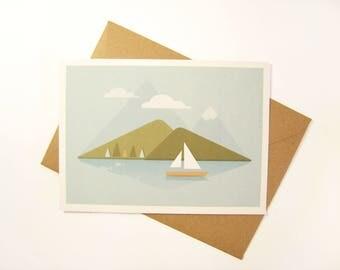 Postcart / mountain illustration / lake