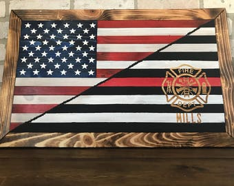 Wooden Red line Firefighter/American flag - personalized/customizable