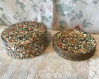Round Vintage 6pc Coaster Set with Container