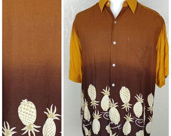 Vintage Rayon Ombré Pineapple Hawaiian Shirt