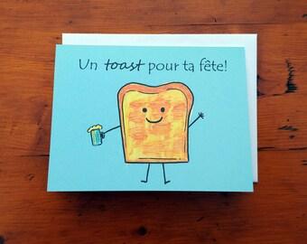 Carte de fête humoristique - ''Un toast pour ta fête!''