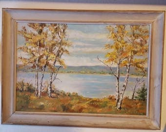 Painting of lake with birch trees