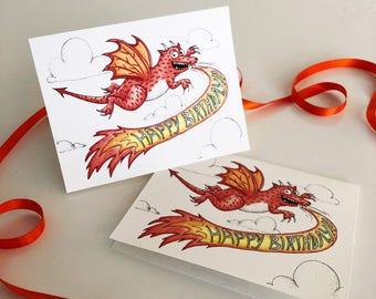 Dragon Birthday Cards!  Set of 4