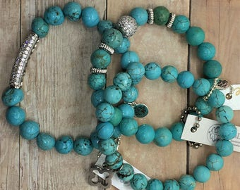 Turquoise Beads Stretch Bracelet with Pave Tube CZ, Valentines Day Gift Silver Micro Pave Healing Jewelry Layering Sets Yoga Boho Green Blue