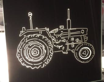 "Wall mirror handcrafted engraving ""Tractor 2"""
