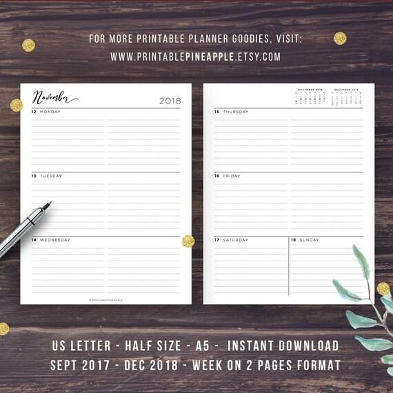 2018 weekly planner printable