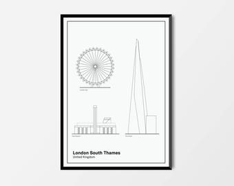 London South Thames, London Print | London Artwork | London Illustration | Architecture Print | City Print