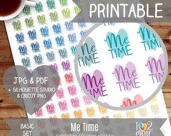 Me Time Printable Planner Stickers, Erin Condren Planner Stickers, EC Printable Stickers, Functional Me Time Stickers - CUT FILES