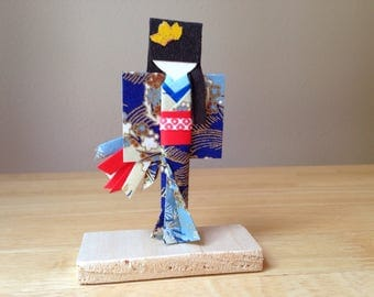 Japanese Origami Paper Doll With Stand