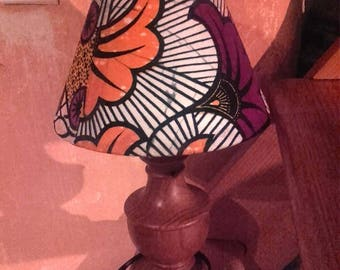 Lamp shade with small red wax patchwork Akwaba creations (2 choices)