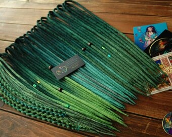 "Set of wool DE dreads ""Forest"" shades od green double ended dreadlocks by Alice Dreads"