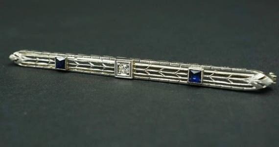 Vintage Art Deco Platinum 18k Yellow Gold Diamond Sapphire Bar Pin Brooch OG101