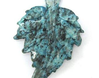 57mm blue kiwi jasper carved leaf pendant bead 17359