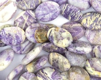 """20mm lavender crazy lace agate flat oval beads 15.5"""" strand 37267"""