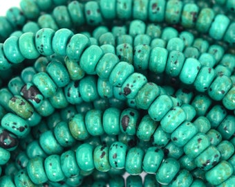 """5mm green turquoise rondelle beads 16"""" strand S1 37370"""