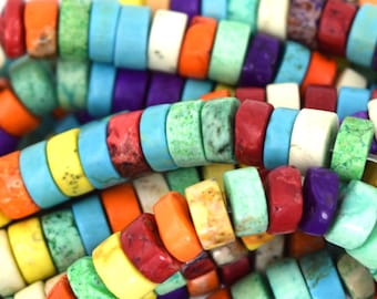 """6mm multicolor turquoise heishi beads 16"""" strand 36961"""
