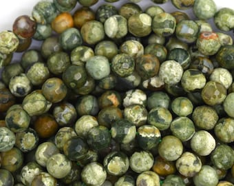"4mm faceted natural green rhyolite round beads 15.5"" strand 36610"