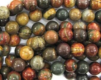 "12mm multicolor picasso jasper round beads 15.5"" strand 33538"