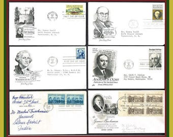6 Vintage U.S.  FDC s ( First Day Covers )