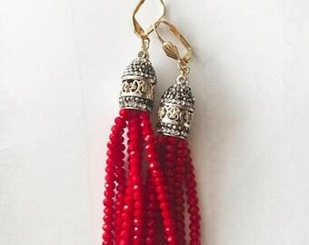15% off ON SALE Red Crystal tassel earrings, red dangle earrings, turkish style earrings, pave tassel, bronze earrings, red dangles, bronze