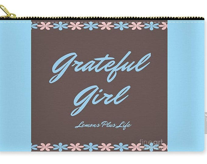 Carry-all Pouch Grateful Girl blue and brown